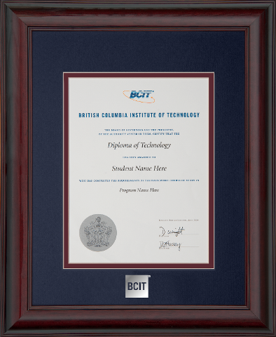 Mahogany Finish Wood Diploma Frame With BCIT Silver Foil Embossed Logo