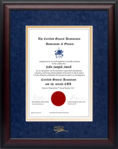 632246896870 Satin mahogany frame with blue velvet and gold double mat board for VERTICAL  CGA Ontario designation