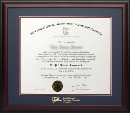 cga manitoba provincial certificate frame satin mahogany double mat board - Double Degree Frame