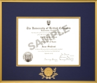 ubc pre may 1992 gold metal diploma frame with 24k gold plated ubc medallion - Diploma Frame Size